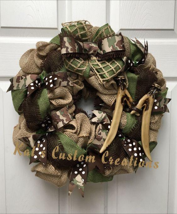Rustic Burlap and Camo Wreath with Deer Antler Monogram!