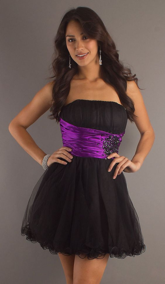 Popular Short Black Purple Formal Dress Strapless Tulle Skirt ...