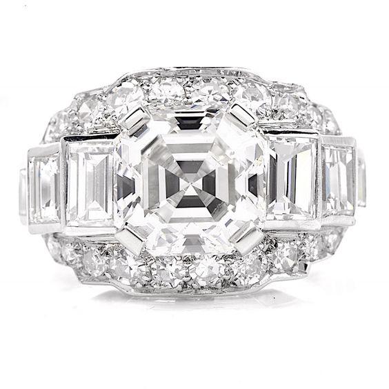 Vintage Deco 4.97ct Asscher Diamond Platinum Engagement Ring Item # 639504 - 400401