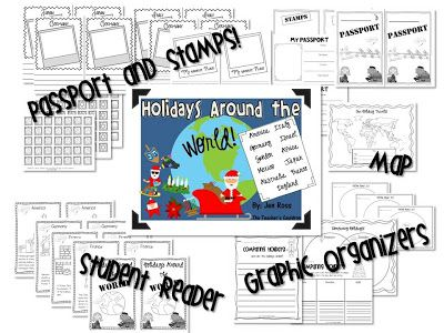 Holidays around the world - student readers, passports, and crafts for 11 different countries