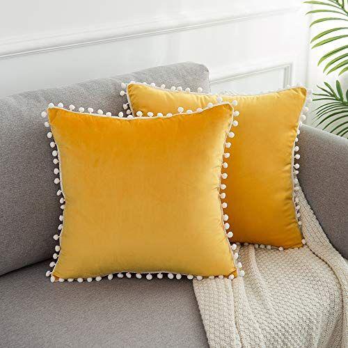 Wlnui Soft Velvet Mustard Yellow Pillow Covers Decorative Https Www Amazon Com Dp B07yhkggc8 Ref Cm Sw R Pi Dp Yellow Pillow Covers Yellow Pillows Pillows