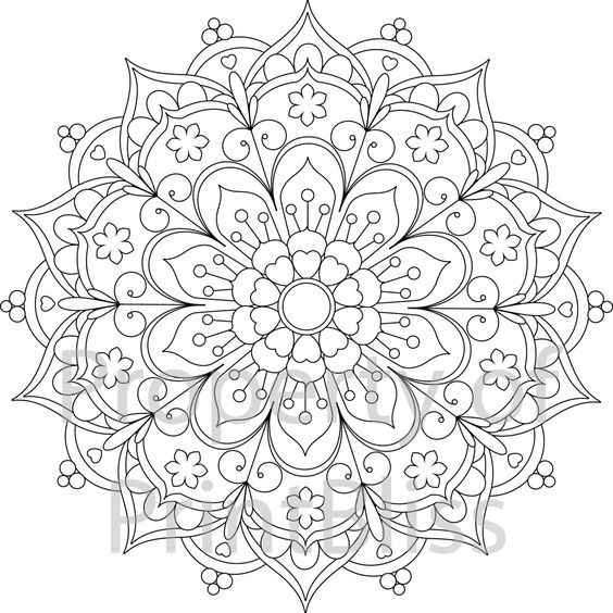 25 flower mandala printable coloring page coloring mandalas and flower. Black Bedroom Furniture Sets. Home Design Ideas