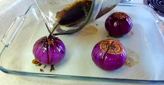 Bake Onions for 25 minutes covered and then uncovered. They open and look like water lilies.