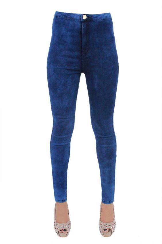 New Ladies Women s Super Skinny Dark Blue Acid Wash Denim Jeans Sizes:UK 6-14