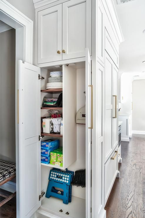 Floor To Ceiling White Shaker Cabinets With Brass Pulls Organize And Store White Shaker Cabinets Kitchen Cabinets Floor To Ceiling Kitchen Cabinets To Ceiling