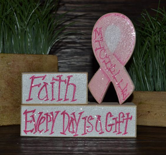 Breast cancer survivor gift personalized wood blocks love for Home decor survivor 5