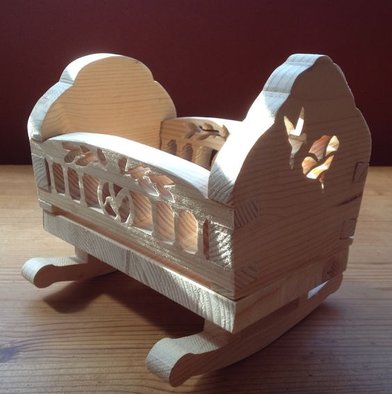 A little dolls crib made with my scroll saw.