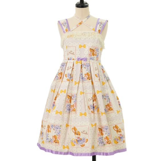 ♡ Emily Temple cute ♡ LuLu rabbit handkerchief jumper skirt http://www.wunderwelt.jp/products/detail8343.html ☆ ·.. · ° ☆ How to buy ☆ ·.. · ° ☆ http://www.wunderwelt.jp/user_data/shoppingguide-eng ☆ ·.. · ☆ Japanese Vintage Lolita clothing shop Wunderwelt ☆ ·.. · ☆ #casuallolita