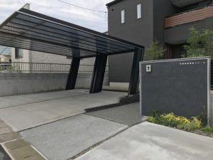 造作門柱 で おしゃれ な 外構 岡山 赤磐 外構 エクステリア ハウスデザイン