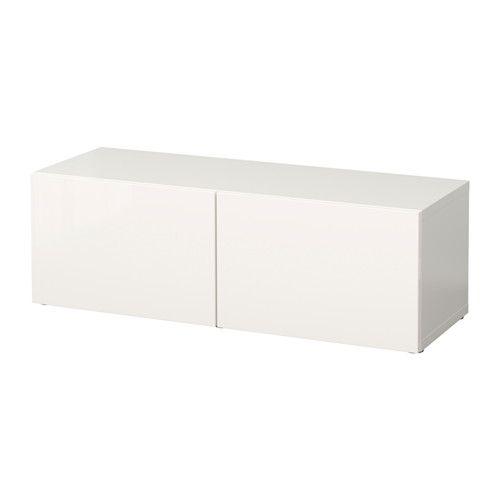 BestÅ shelf unit with doors   white/selsviken high gloss/white, 47 ...