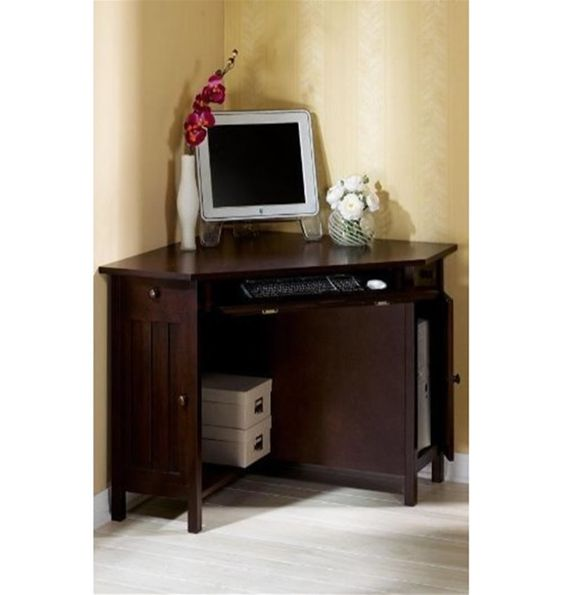 Small corner home office computer desk i like creative work spaces pinterest home small - Corner desk for small spaces concept ...