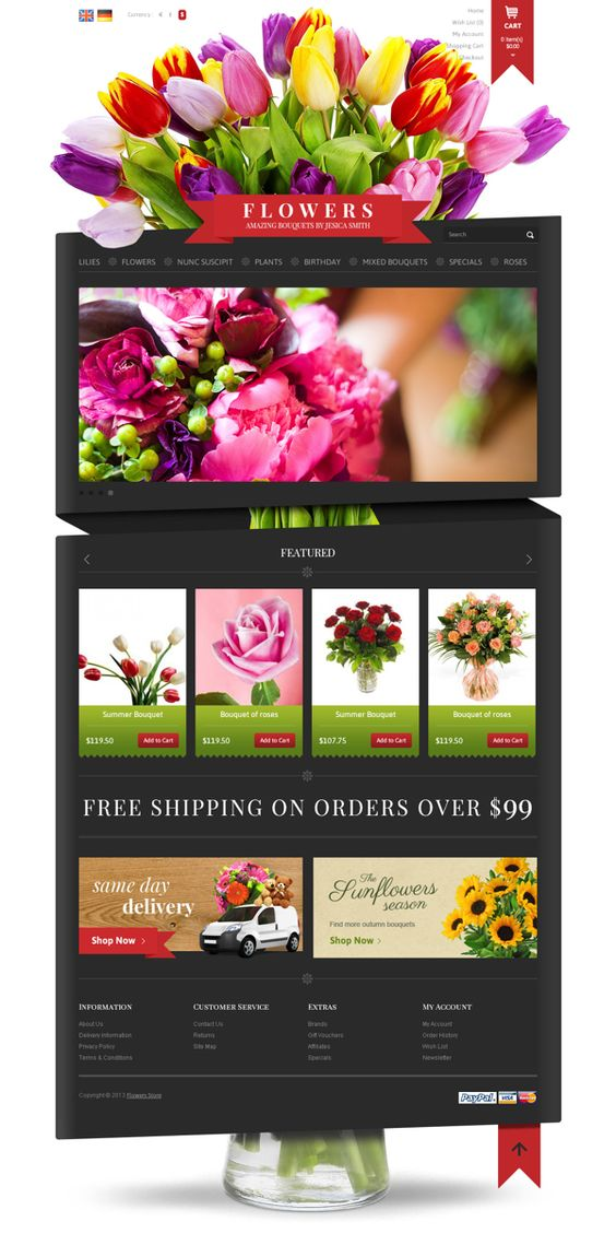 Flowers Shop Amazing Bouquets Online OpenCart Theme by Dynamic Template