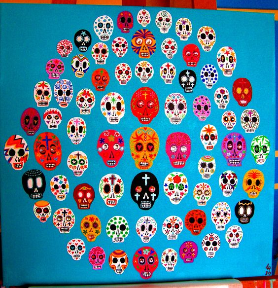 Acrylic painting on canvas by Leandra Holder called Sugar Skulls (available on Etsy):