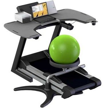 TrekDesk treadmill workstation & exercise ball