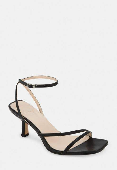 Missguided Black Strappy Low Heeled