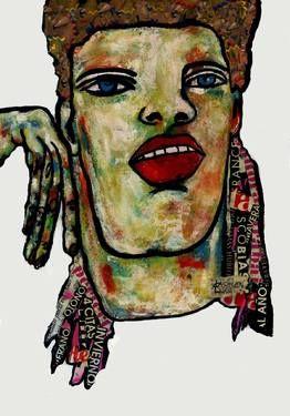 "Saatchi Art Artist CARMEN LUNA; Painting, ""64-RETRATOS Expresionistas. Invierno."" #art http://www.saatchiart.com/art-collection/Painting-Assemblage-Collage/Expressionist-Portrait/71968/51263/view"