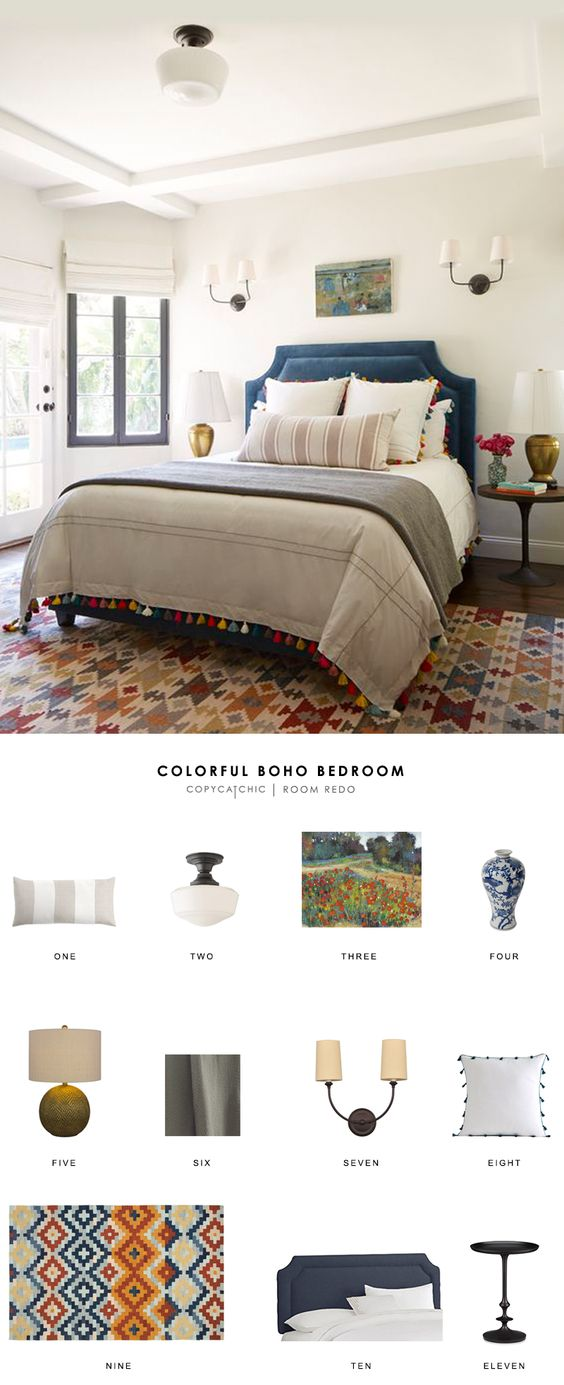 A colorful boho chic bedroom by Emily Henderson gets recreated for less by copycatchic luxe living for less budget home decor and design http://www.copycatchic.com/2017/01/copy-cat-chic-room-redo-colorful-boho-bedroom.html?utm_campaign=coschedule&utm_source=pinterest&utm_medium=Copy%20Cat%20Chic&utm_content=Copy%20Cat%20Chic%20Room%20Redo%20%7C%20Colorful%20Boho%20Bedroom