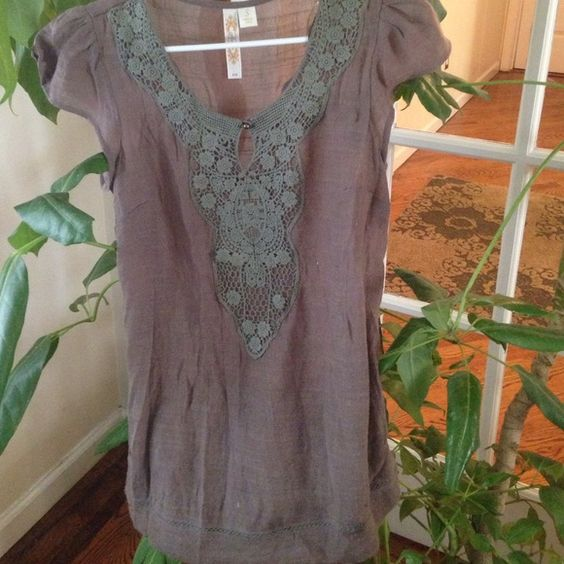 Host pick Boho flowy top Brown boho flowy top with green floral crochet. In ok condition- some slight pilling. Tops Blouses