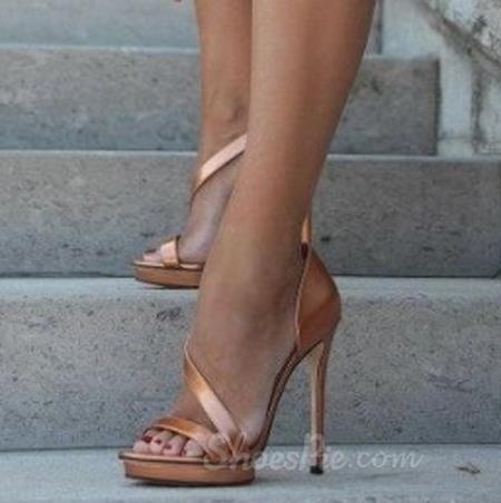 Charming Golden Stiletto Dress Sandals