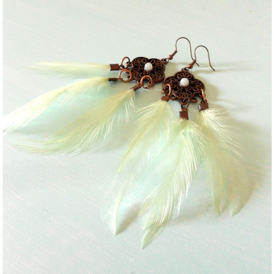 Boho Mint Green Feather Earrings in Antique Copper & Natural Amazonite... ($13) ❤ liked on Polyvore