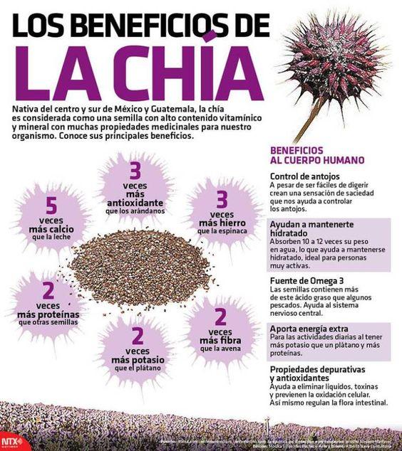 Infografia Los Beneficios De La Chía Beneficios De La Chia Recetas Para La Salud Frutas Y Verduras Beneficios