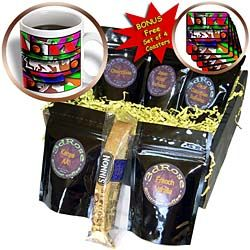 The Big Yellow Moon Three Times on a Page With Vibrant Colors of Pink, Red, Green and Orange Coffee Gift Basket