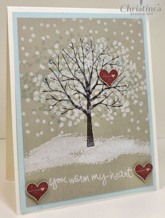 Stampin' Up! cards using Stampin' Up's Sheltering Tree stamp set and Stampin' Up!'s Pictogram Punches stamp set; Christine's Stamping Spot