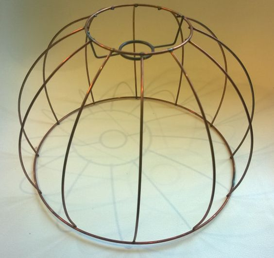 Wire lamp shade frame vintage copper colored   Wire, Shades and Copper