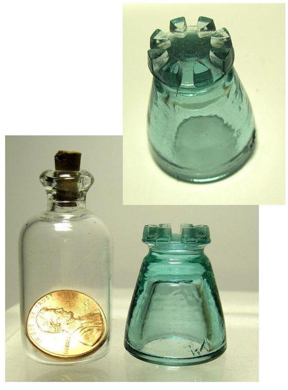 Aqua  Private Issue  mini Castle  glass insulator