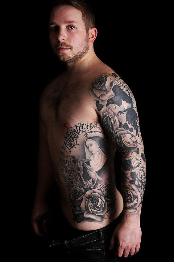Ribs sleeve and tattoos and body art on pinterest for Religious rib tattoos for guys