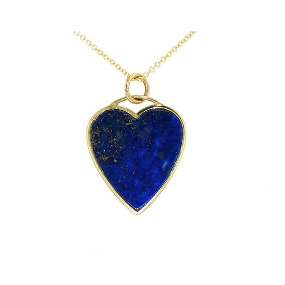Jennifer Meyer Lapis Heart Necklace found on Polyvore