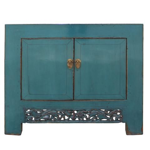 Blue Table Low Cabinet Small Chest Console Table Foyer Decorating Teal Blue