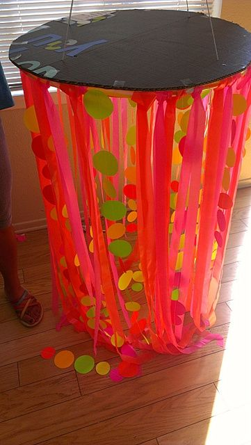 Diy party decorations i made chandeliers out of for Plastic chandeliers for parties