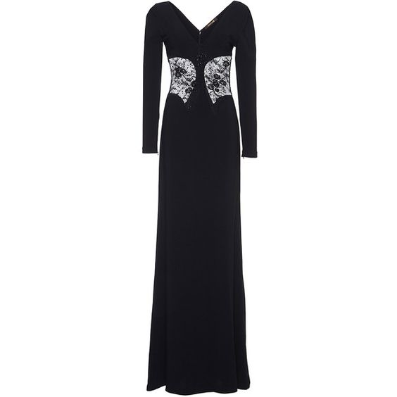 Roberto Cavalli Lace Illusion Long Sleeve Dress featuring polyvore, women's fashion, clothing, dresses, gowns, roberto cavalli, long sleeve lace gown, long sleeve dress, long sleeve evening gowns, long-sleeve lace dress and lace sheath dress
