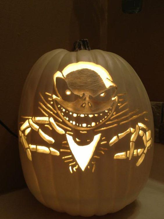 One of my foam pumpkin carves Jack Skellington from Tim Burton\u0027s