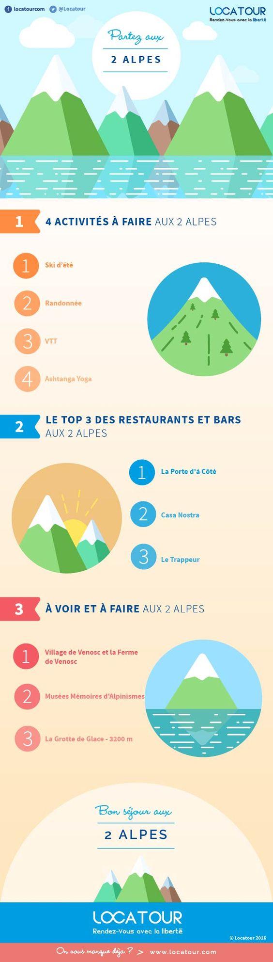 #Infographie- Montagne été : Les 2 Alpes - Locatour - Venez bénéficier des nombreux aspects des paysages montagnards et des activités ainsi que des restaurants !#vacances#traveling