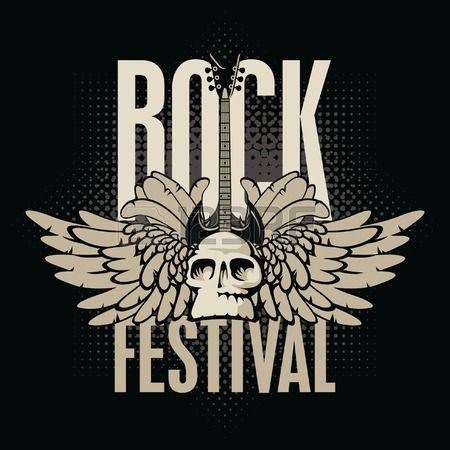 cartel para un festival de rock con el cr neo guitarra y alas Foto de archivo