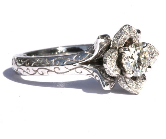 Engraved UNIQUE Flower Rose Lotus Blooming Diamond Engagement or Right Hand Ring - 1.50 carat - Fl09. $7,750.00, via Etsy.