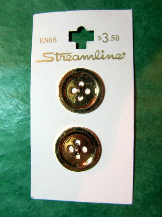 "2 - 13/16"" STREAMLINE GOLD TONE METAL 4-HOLE BUTTONS - VINTAGE CARD Lot#PC99"