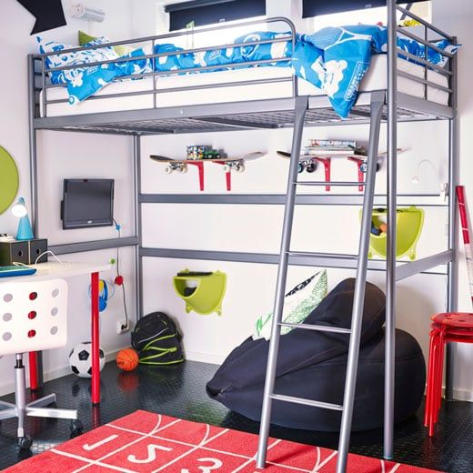Svarta Silver Loft Bed With Bean Bag Shelves And Tv Set Up Underneath Boys Loft Bedroom Loft Bed Ikea Loft Bed