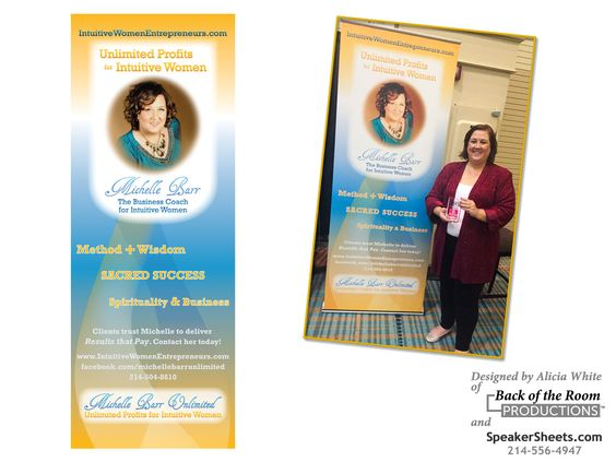 Make a powerful impact with a large retractable banner. it's a must have branding tool for coaches and speakers.