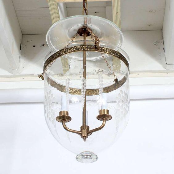 Etched Glass Bell Jar Hurricane Pendant Light Or Lantern In 2020 Glass Bell Jar Pendant Light Lantern Pendant