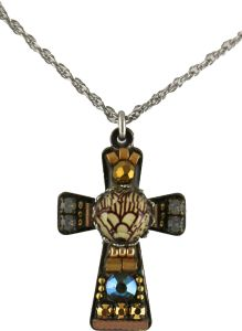 The cross is  1 1/2″ X 1/2″. The chain is adjustable 16-20″.