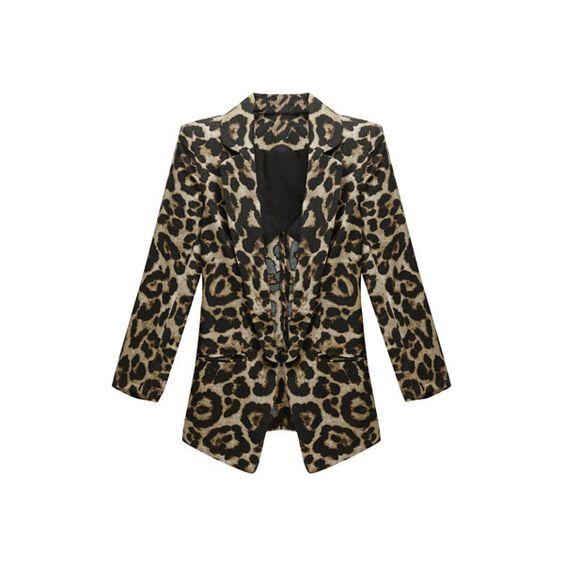 Shrug Detailed Leopard Blazer
