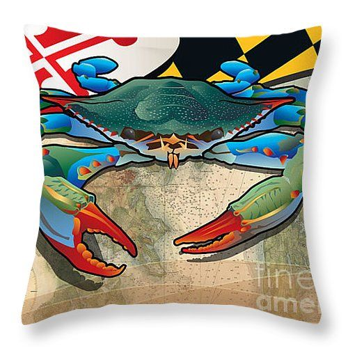 """Blue Crab of Maryland Throw Pillow 14"""" x 14"""""""