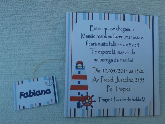 Convite c/Chá Ursinho Marinheiro001 | M & A - Mimos Personalizados | Elo7