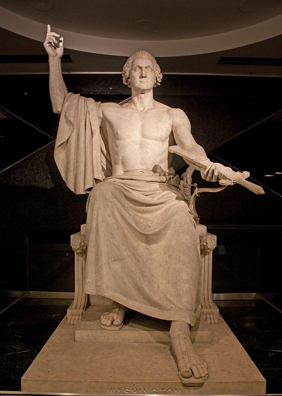Enthroned Washington, the statue of George Washington deemed too risque for Capitol Hill, from @io9