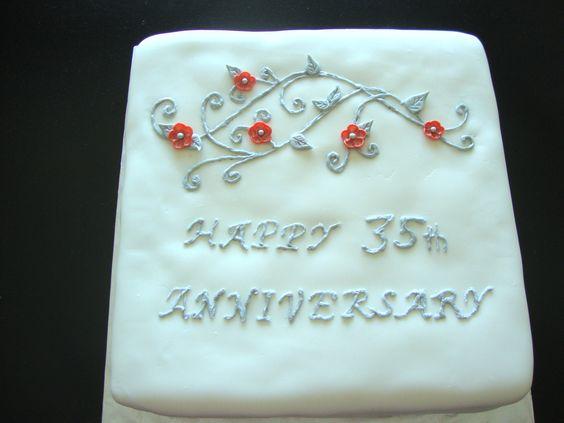 35th Anniversary cake - closer look.