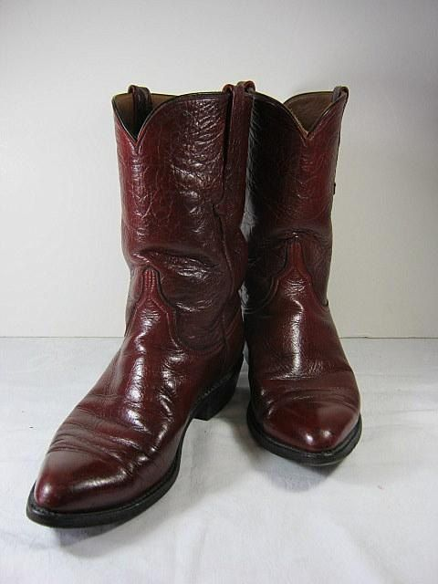 Vintage LUCCHESE COWBOY BOOTS All Leather Cordovan Burgundy mens 9
