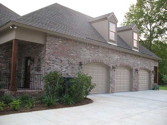 European house plans home design and wood garage doors on for Brick garage plans